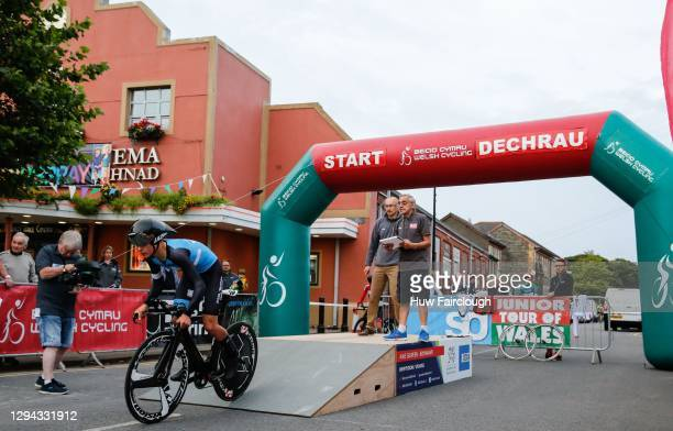 View of Tom Pidcock of PH-MAS Olfield/Paul Milnes Cycles on the starting ramp of the individual time trial of Stage 1 of The SD Sealants Junior Tour...