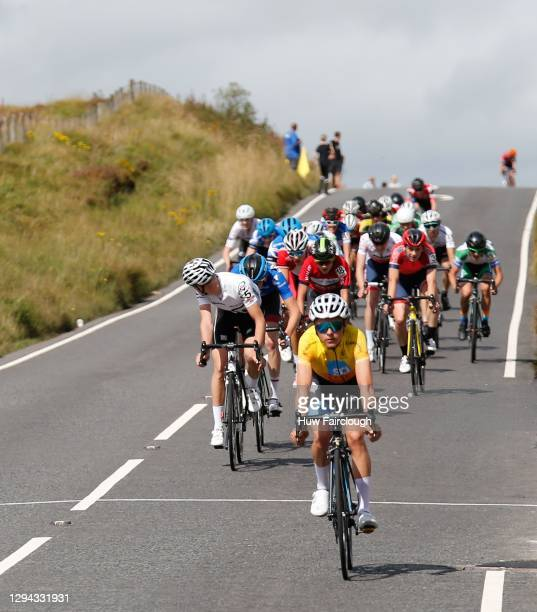 View of Tom Pidcock of PH-MAS Olfield/Paul Milnes finishing stage 2 of the SD Sealants Junior Tour of Wales on August 26, 2017 in Rhigos, Wales.