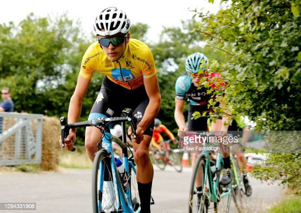 View of Tom Pidcock of PH-MAS Olfield/Paul Milnes in the Yellow Race leaders jersey during stage 3 of the SD Sealants Junior Tour of Wales on August...