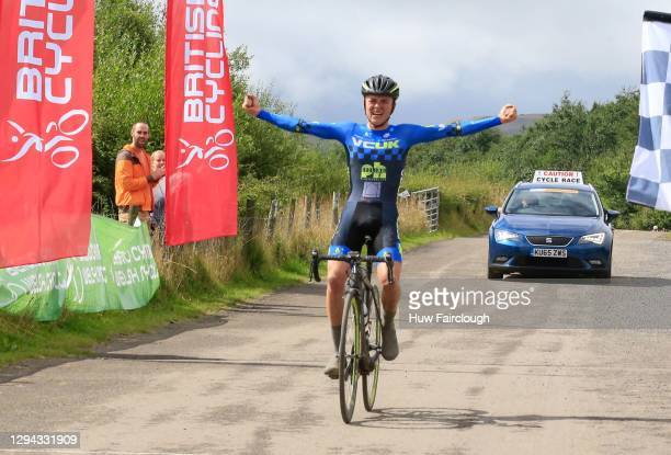 View of Tom Pidcock of VCUK PH MAS celebrating winning stage 3 of the SD Sealants Junior Tour of Wales on August 27, 2016 in Tredegar, Wales.