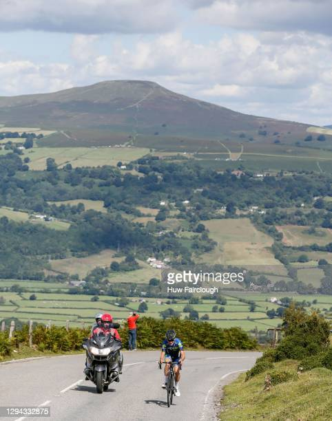 View of Tom Pidcock of VCUK PH MAS climbing the Tumble in stage 5 of the SD Sealants Junior Tour of Wales on August 29, 2016 in Abergavenny, Wales.