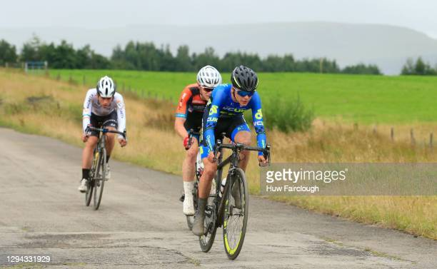 View of Tom Pidcock of VCUK PH MAS in blue riding in stage 3 of the SD Sealants Junior Tour of Wales on August 27, 2016 in Tredegar, Wales.