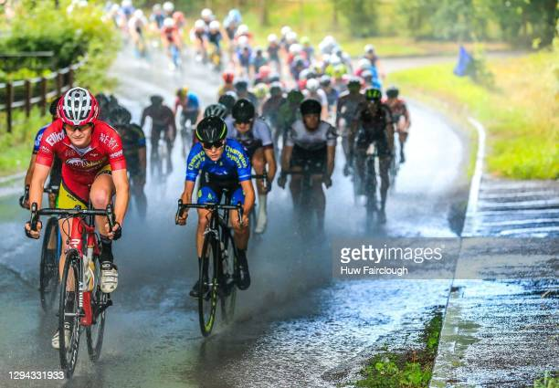 View of Tom Pidcock of VCUK PH MAS in Blue riding in stage 4 of the SD Sealants Junior Tour of Wales on August 28, 2016 in Abergavenny, Wales.