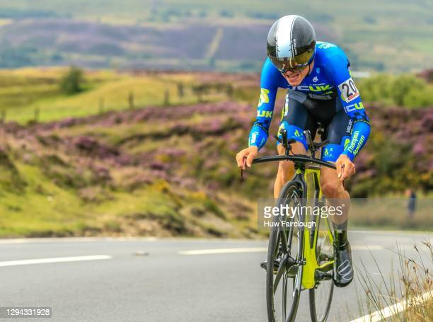 View of Tom Pidcock of VCUK PH MAS riding in the individual time trial stage 1 of the SD Sealants Junior Tour of Wales on August 26, 2016 in...