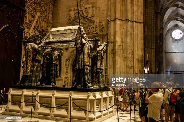 A view of Tomb of Christopher Columbus inside the Catedral de Sevilla in Sevilla Spain on September 14 2018
