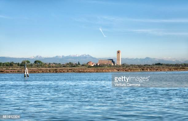 View of Torcello island from Burano, Italy