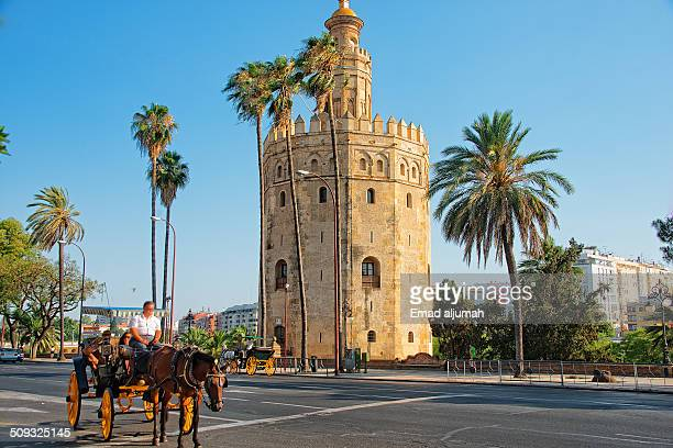 Gold Tower which is a military watchtower in Seville built by Almohad dynasty in 13th century