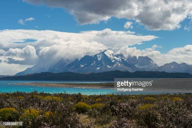 View of Torres del Paine National Park from Lake Sarmiento in southern Chile.