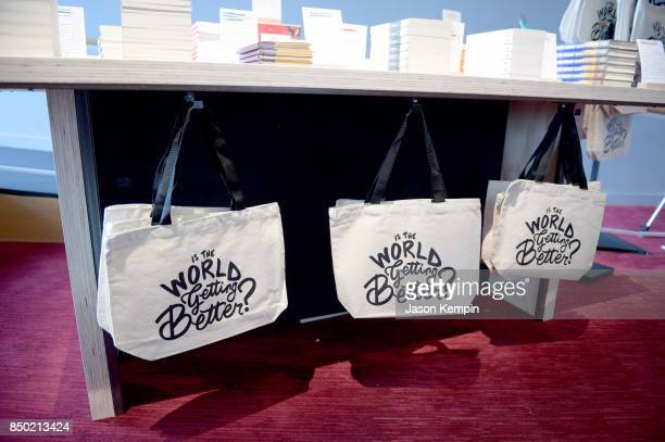 A view of tote bags at Bill's Bookstore during Goalkeepers 2017 at Jazz at Lincoln Center on September 20 2017 in New York City Goalkeepers is...