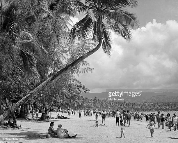 A view of tourist on Luquillo Beach in Puerto Rico