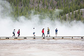 board walk at geyser basin hot