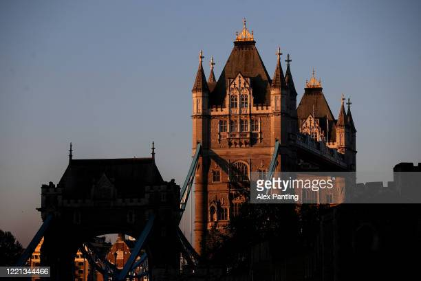 A view of Tower Bridge as the sun rises on April 26 2020 in London England The 40th London Marathon was due to take place today with thousands of...