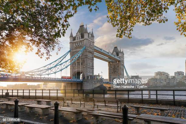 View Of Tower Bridge Over River Against Cloudy Sky