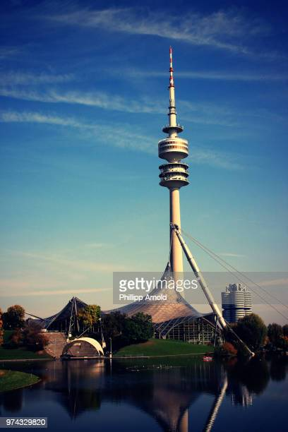 View of tower in Olympia park, Munich, Bavaria, Germany