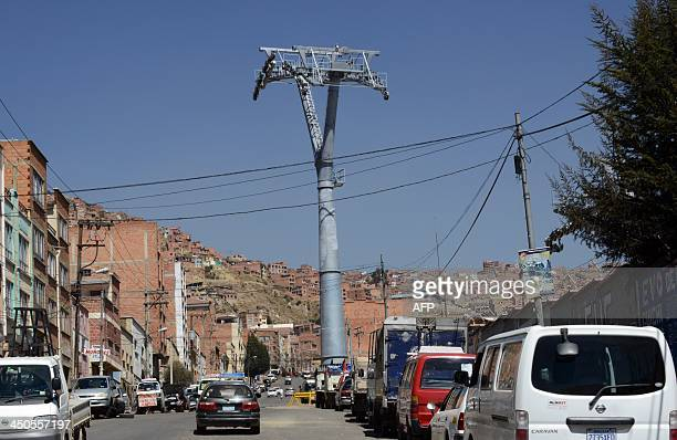 View of towers of the cable railway under construction in El Alto 12km from La Paz on November 7 2013 The cable railway being built by Swiss company...
