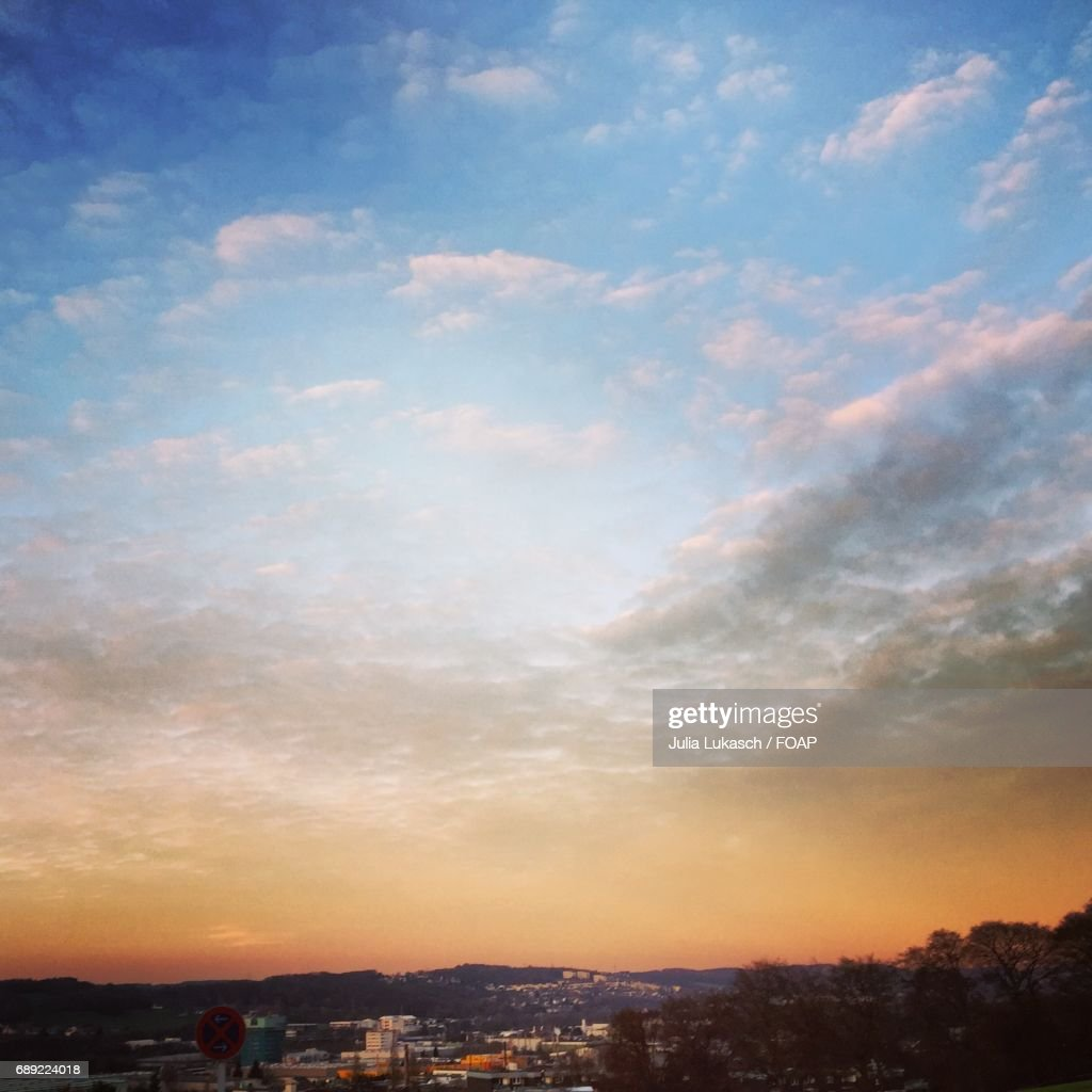 View of town at dusk : Stock Photo