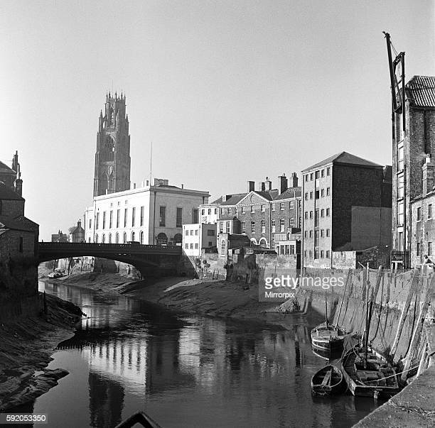 View of Town Bridge and St Botolph's Church in Boston Lincolnshire 2nd April 1953
