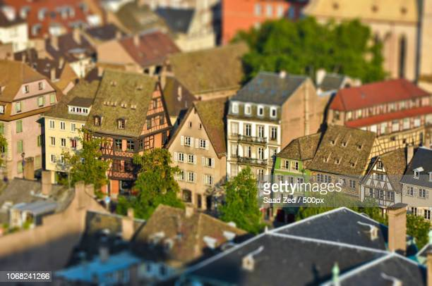 View of townhouses in old town with diorama effect