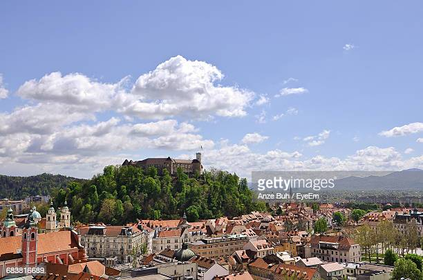 view of townscape against sky - ljubljana stock pictures, royalty-free photos & images