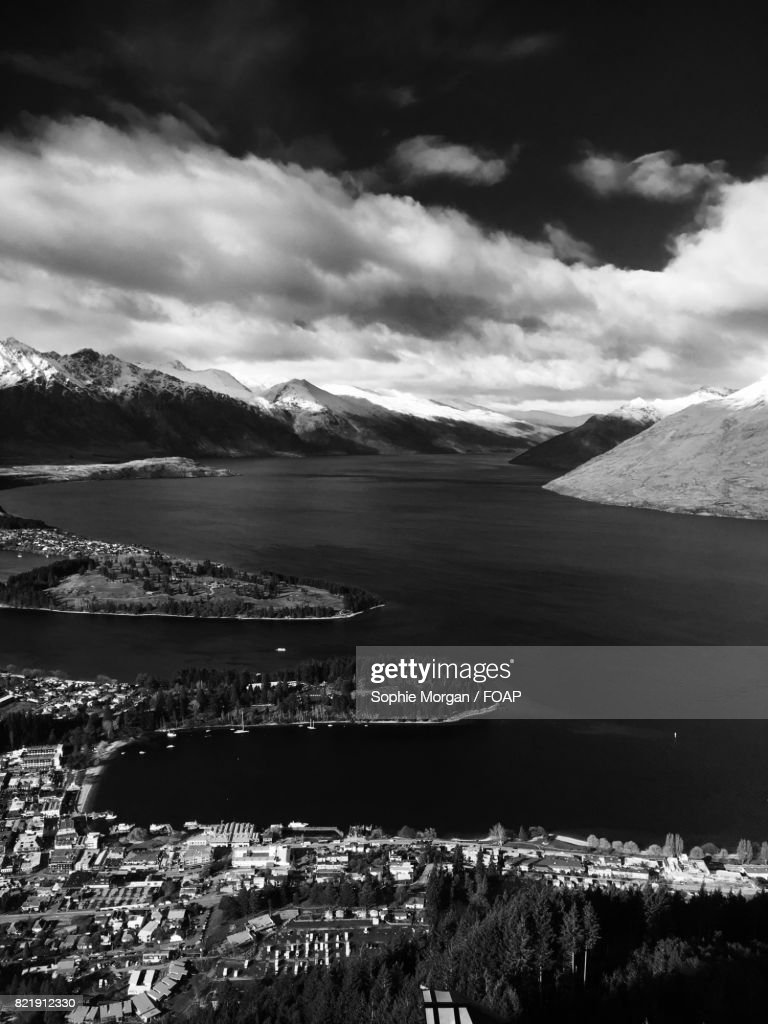 View of townscape near lake : Stock Photo