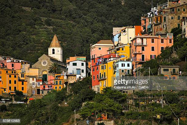 view of townscape on hill - bologna stock pictures, royalty-free photos & images