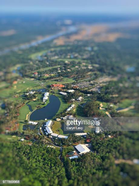 A view of TPC Sawgrass from THE PLAYERS blimp during the first round of THE PLAYERS Championship on THE PLAYERS Stadium Course at TPC Sawgrass on May...