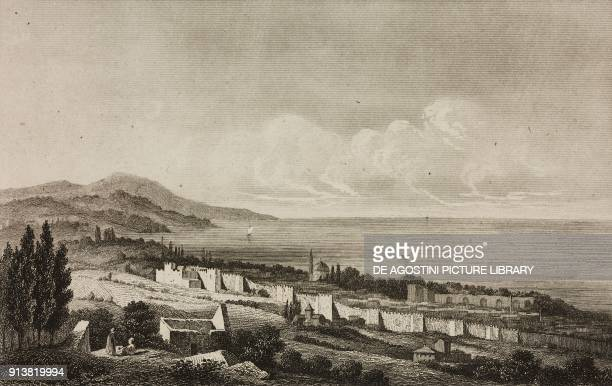 View of Trabzon Turkey engraving by Lemaitre Lalaisse and Preaux from Turquie by Joseph Marie Jouannin and Jules Van Gaver L'Univers pittoresque...