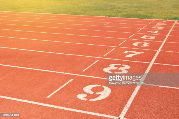 view of track field - track and field stadium stock pictures, royalty-free photos & images