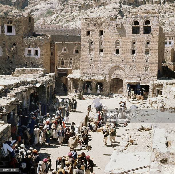 View of traders in an ancient market near San'a Yemen 1976 near San'a