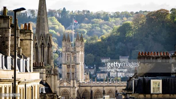 view of traditional church abbey in bath england - 英イングランド バース ストックフォトと画像