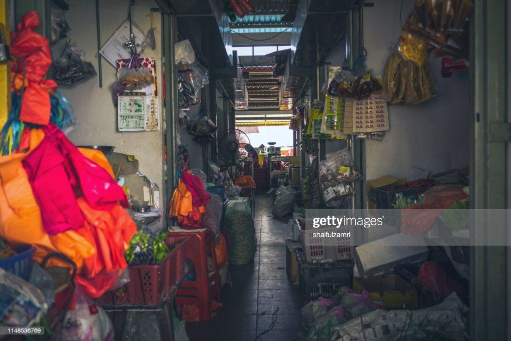 View of traditional  fruit market in Sekinchan, Malaysia. : Stock Photo