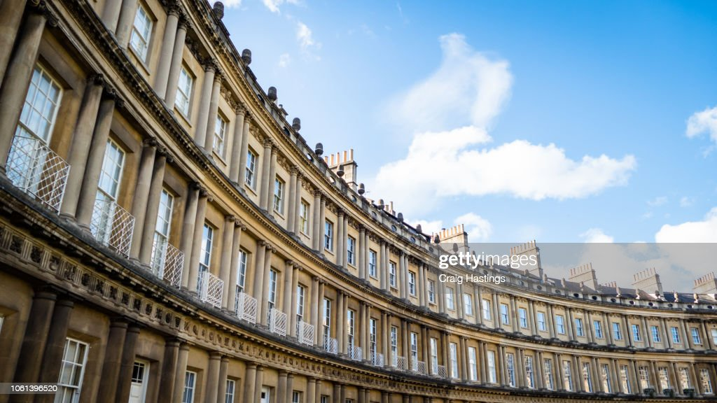 View of Traditional Georgian Houses in Bath England : Stock Photo