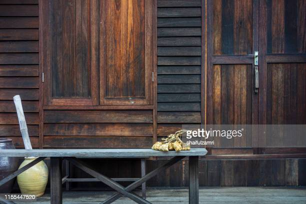 view of traditional house in rural area of sabak bernam during during hari raya celebration. - shaifulzamri stock pictures, royalty-free photos & images