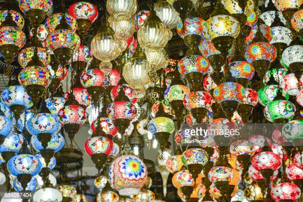 A view of traditional lamps hand decorated inside a market in Dubai Old Town On Monday 6 February in Dubai UAE