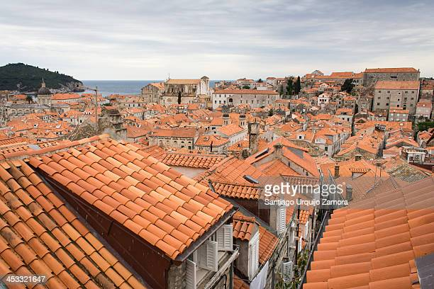 View of traditional tiled rooftops of Dubrovnik, Dubrovnik-Neretva County, Croatia. Dubrovnik is a Croatian city on the Adriatic Sea, in the region...