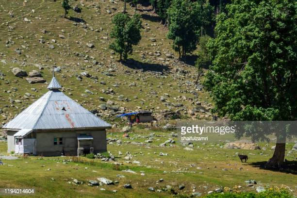 view of traditional village at sonamarg valley, india. - shaifulzamri stock pictures, royalty-free photos & images