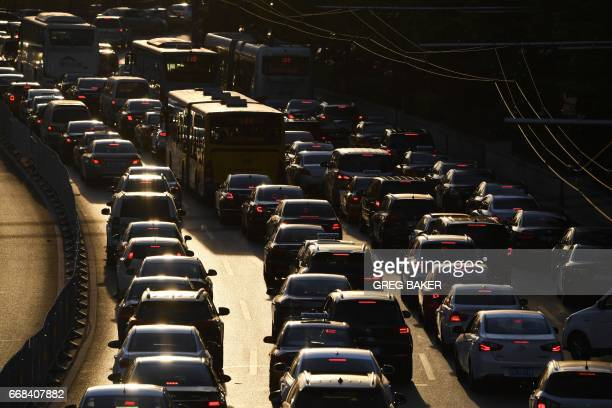 A view of traffic in Beijing on April 14 2017 China's growth stabilised in the first quarter thanks to rising investments and a recovery in exports...