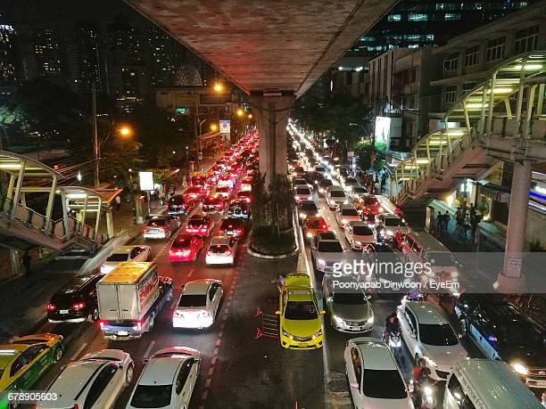 View Of Traffic In City During Night