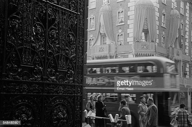 A view of traffic on Piccadilly from the Royal Academy of Arts Mayfair London circa 1953