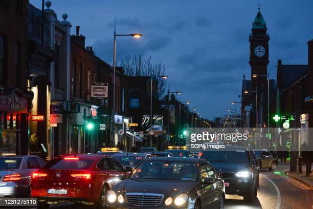 View of traffic on the main street in Rathmines area during the Covid-19 pandemic.