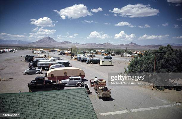 A view of trailer homes at Tent City Nevada housing for workers and thier families at the Basic Magnesium Incorporated a Magnesium Mining plant in...