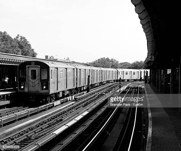 view of train at railway station - bronx stock pictures, royalty-free photos & images