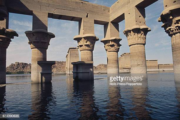 1971 view of Trajan's Kiosk part of the temple complex of Philae located on the island of Philae in the River Nile in Egypt and flooded by...