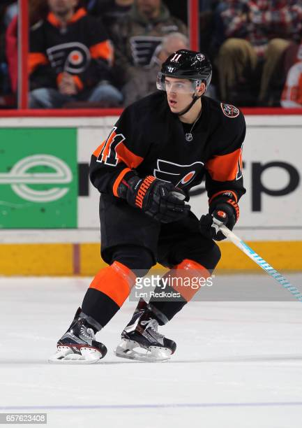A view of Travis Konecny of the Philadelphia Flyers skates against the Pittsburgh Penguins on March 15 2017 at the Wells Fargo Center in Philadelphia...