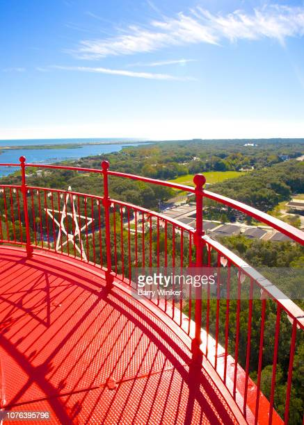 view of trees and waterways from up high in st. augustine - st augustine lighthouse - fotografias e filmes do acervo