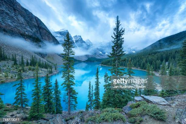 view of trees in lake against cloudy sky - banff stock photos and pictures