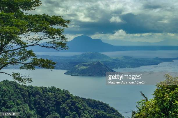 view of trees with mountain range in background - taal volcano 個照片及圖片檔