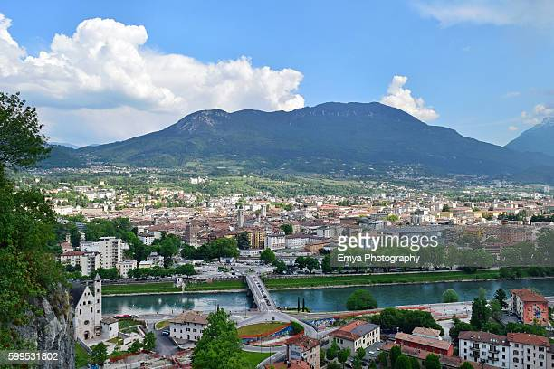 View of Trento city and Adige river, Trentino, Italy