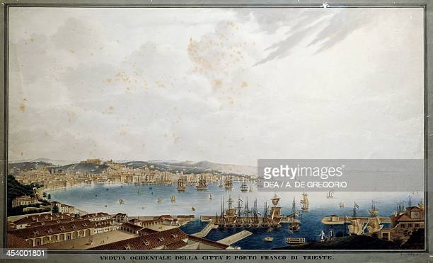 View of Trieste and its port from the west engraving Italy 18th century Trieste Museo Di Storia E Arte E Orto Lapidario
