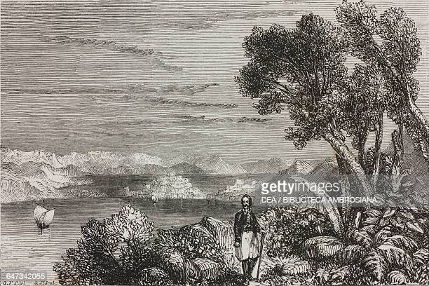 View of Troezen Peloponnese engraving from Greece Pictorial Descriptive and Historical by Christopher Wordsworth